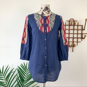 Anthropologie Hei Hei Embroidered Button Down Top